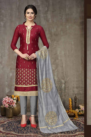 Buy Blended Cotton Embroidery Dress Material in Maroon