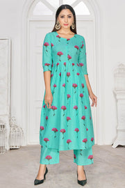 Buy Rayon Block Printed Kurta Set in Sky Blue
