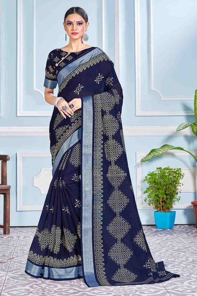 Buy Cotton Art Silk Printed Saree In Navy Blue