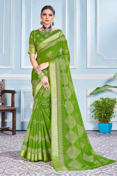 Buy Cotton Art Silk Printed Saree In Mahendi