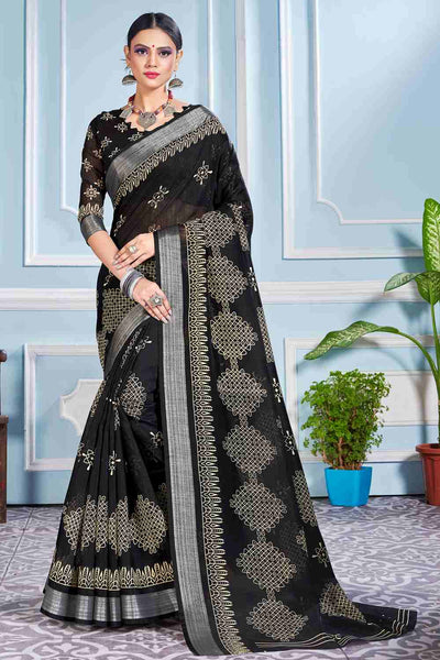 Buy Cotton Art Silk Printed Saree In Black