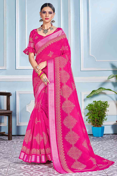 Buy Cotton Art Silk Printed Saree In Pink