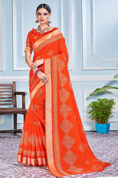 Buy Cotton Art Silk Printed Saree In Orange