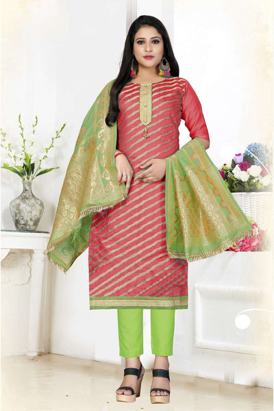 Buy Art Silk Woven Jacquard Dress Material in Red