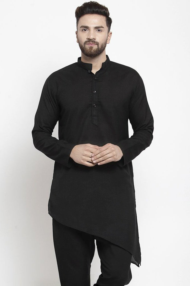 Buy Men's Blended Cotton Plain Kurta Set in Black