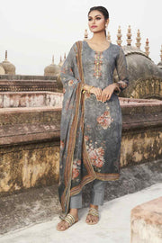 Buy Faux Georgette Digital Printed Dress Material in Grey