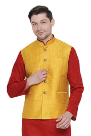 Buy Men's Blended Cotton Plain Nehru Jacket in Yellow