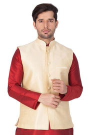 Buy Men's Blended Cotton Plain Nehru Jacket in Cream