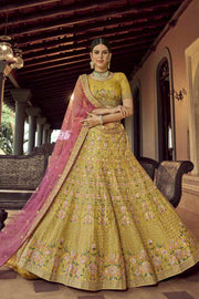 Buy Organza Zari Lehenga Choli in Mustard