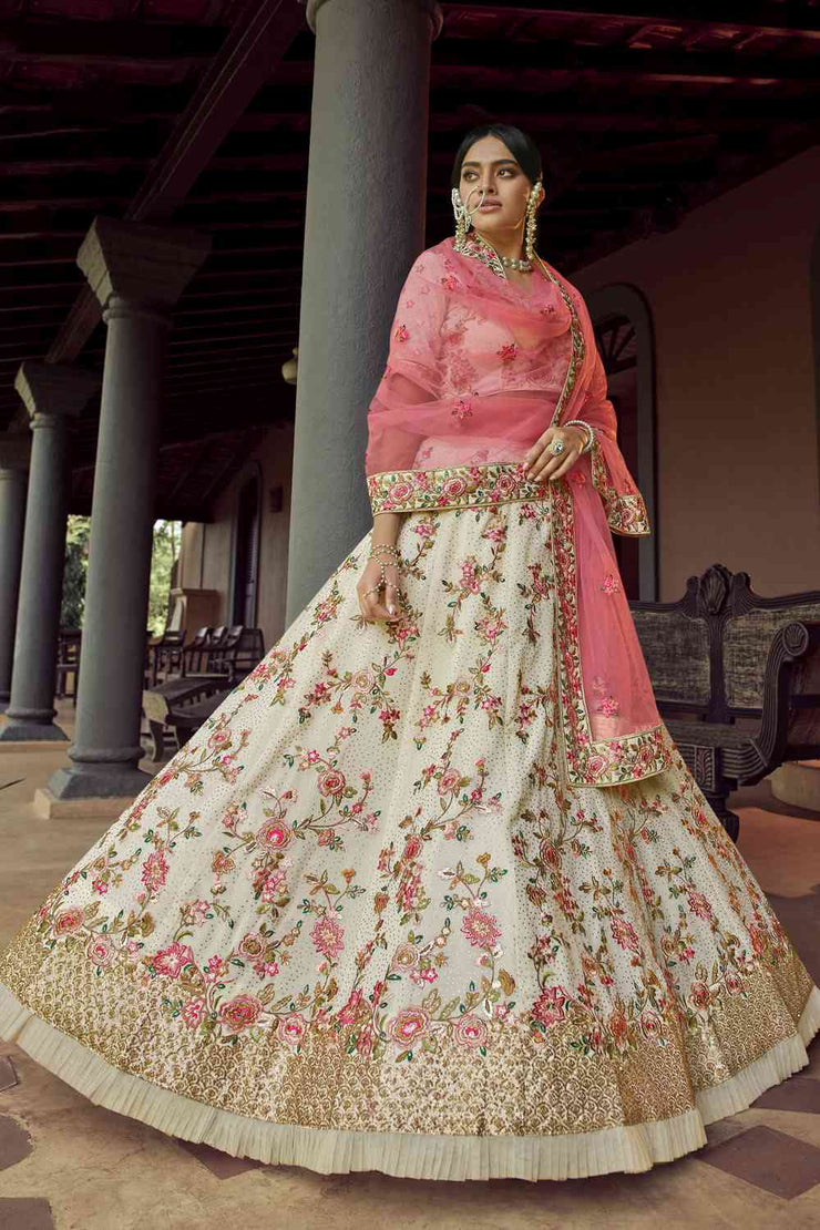 Buy Faux Georgette Thread Embroidery Lehenga Choli in Off White