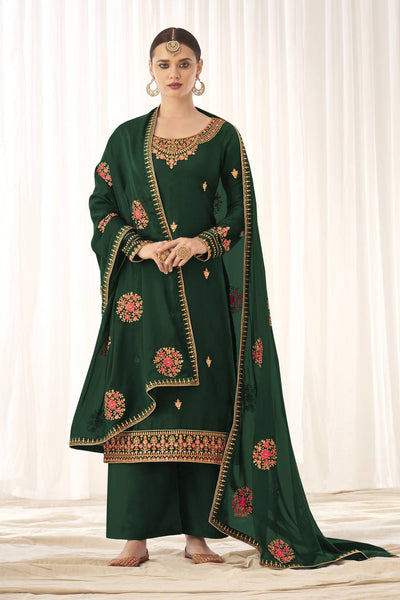 Buy Tussar Art Silk Embroidery Dress Material in Green