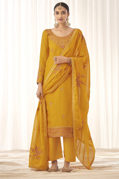 Buy Tussar Art Silk Embroidery Dress Material in Mustard