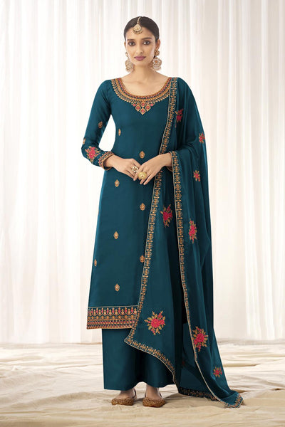 Buy Tussar Art Silk Embroidery Dress Material in Blue