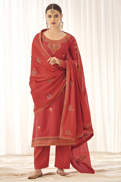 Buy Tussar Art Silk Embroidery Dress Material in Peach
