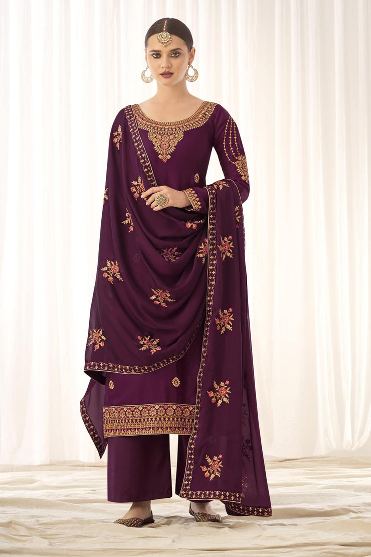 Buy Tussar Art Silk Embroidery Dress Material in Wine