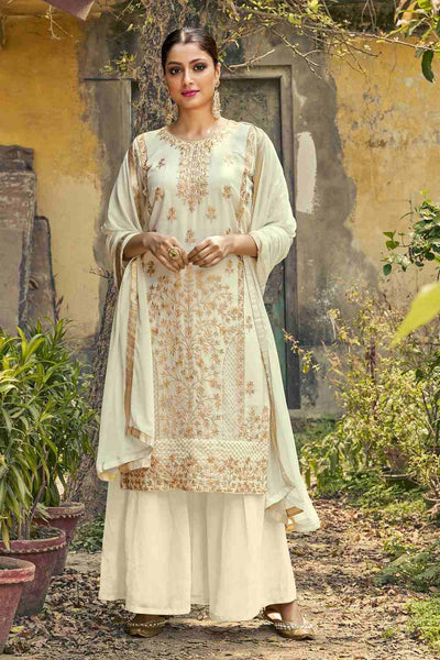 Buy Faux Georgette Embroidery Dress Material in Cream