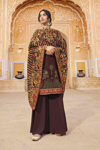 Buy Faux Georgette Embroidry Work Dress Material in Wine