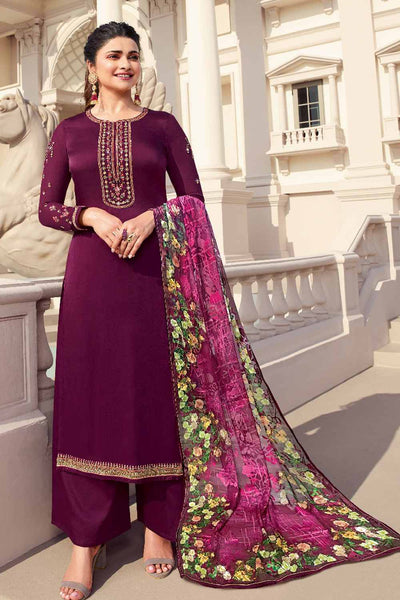 Buy Tusser Satin Zari Embroidery Dress Material in Purple