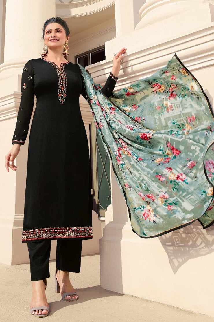 Buy Tusser Satin Zari Embroidery Dress Material in Black