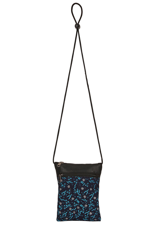 Canvas Sling Bag in Blue and Black