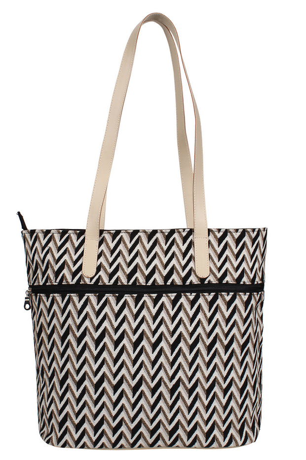 Cotton Jacquard Handbag in Beige and Black