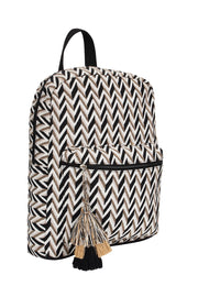 Cotton Canvas Backpack in Beige and Black