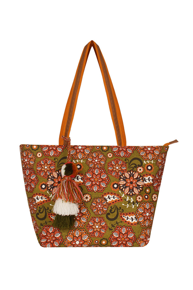 Canvas Handbag in Brown and Green