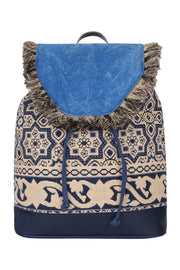 Cotton Canvas Backpack in Blue