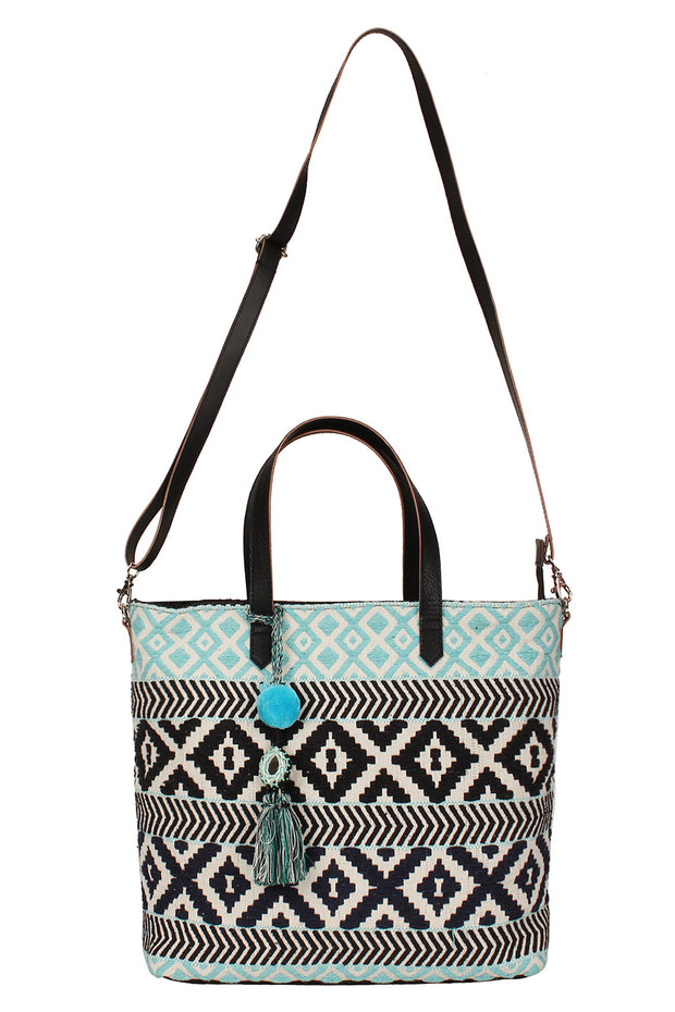 Jacquard Handbag in Blue And Black