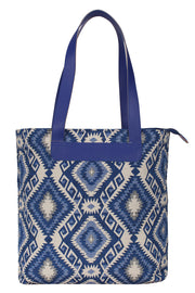 Cotton Jacquard Handbag in Blue And White