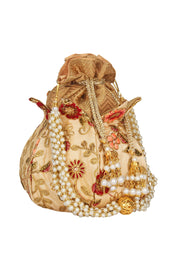 Faux Silk Potli in Beige