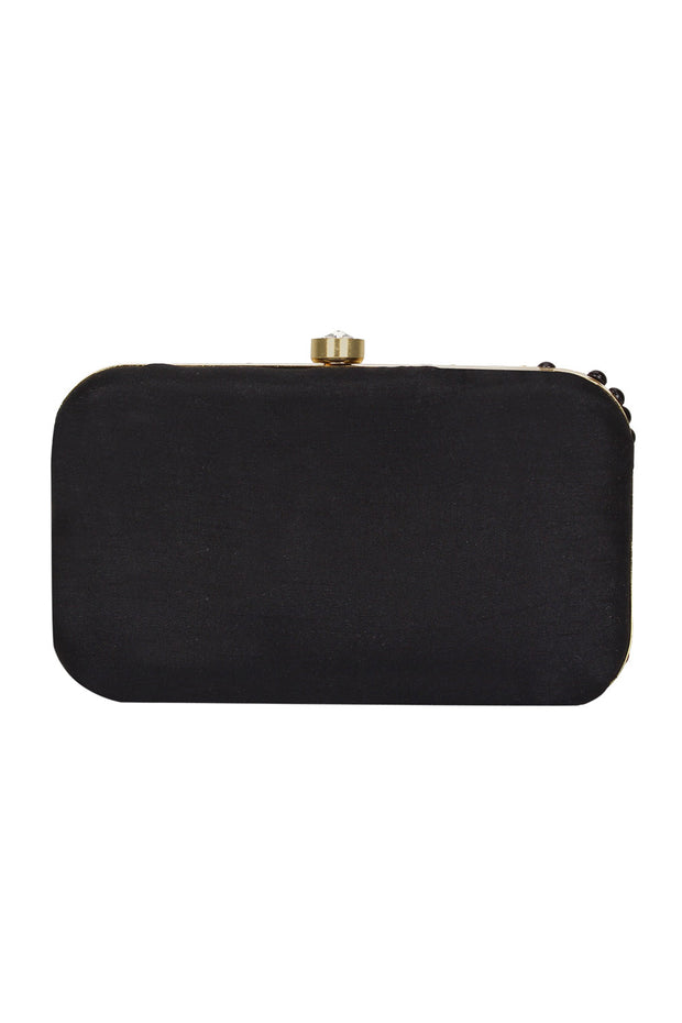 Faux Silk Clutch in Black and Gold