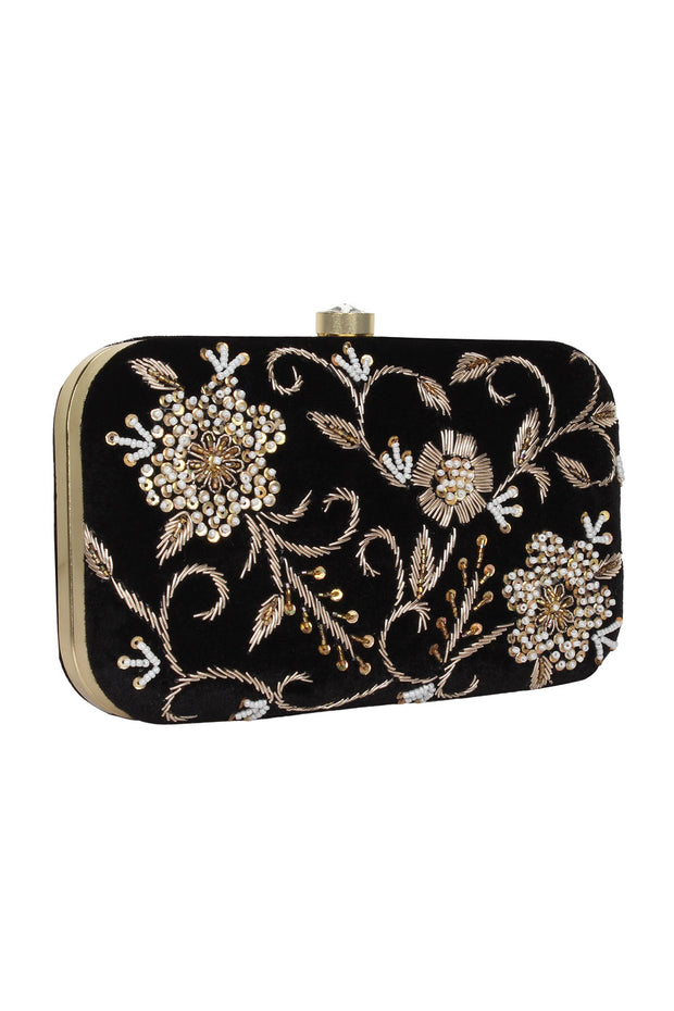 Velvet Clutch in Black and Gold