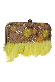 Faux Silk Clutch in Beige and Yellow