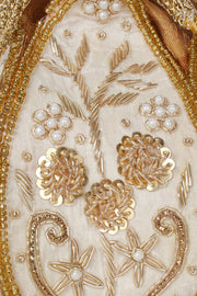 Faux Silk Potli in White and Gold