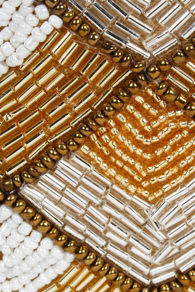 Faux Silk Potli in Gold and White