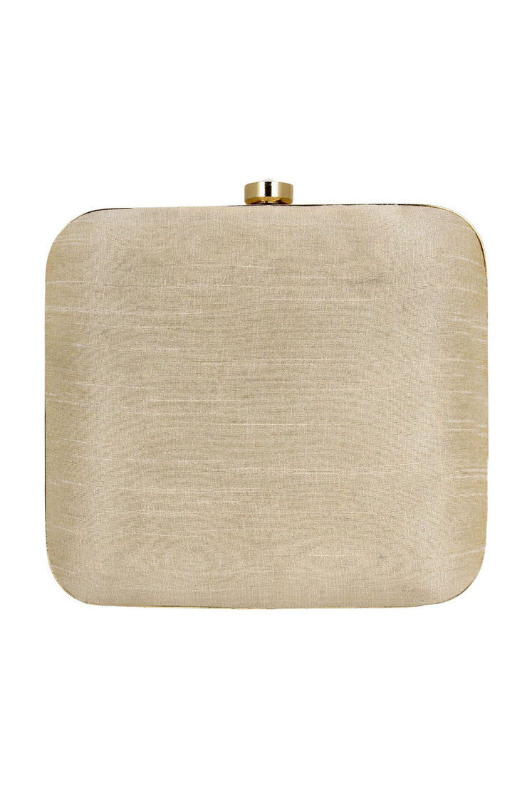 Faux Silk Clutch in White and Gold