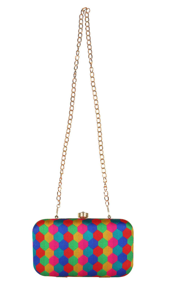 Faux Silk Clutch in Multi-Color