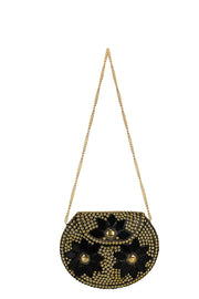 Metal Clutch in Gold and Black