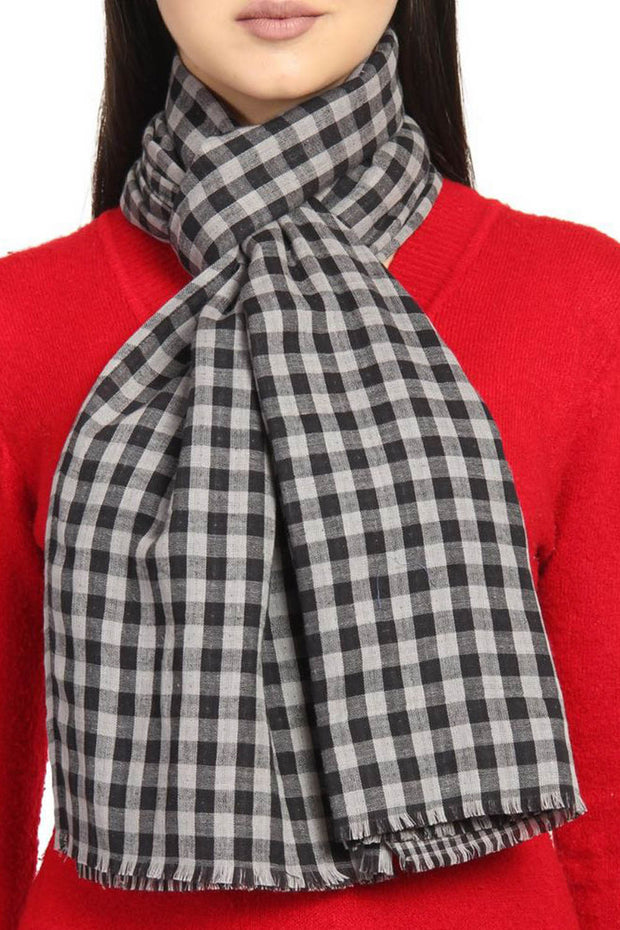Viscose Scarf in Black And Grey