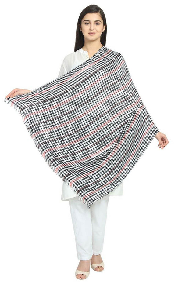 Viscose Stole And Scarf in Black And White