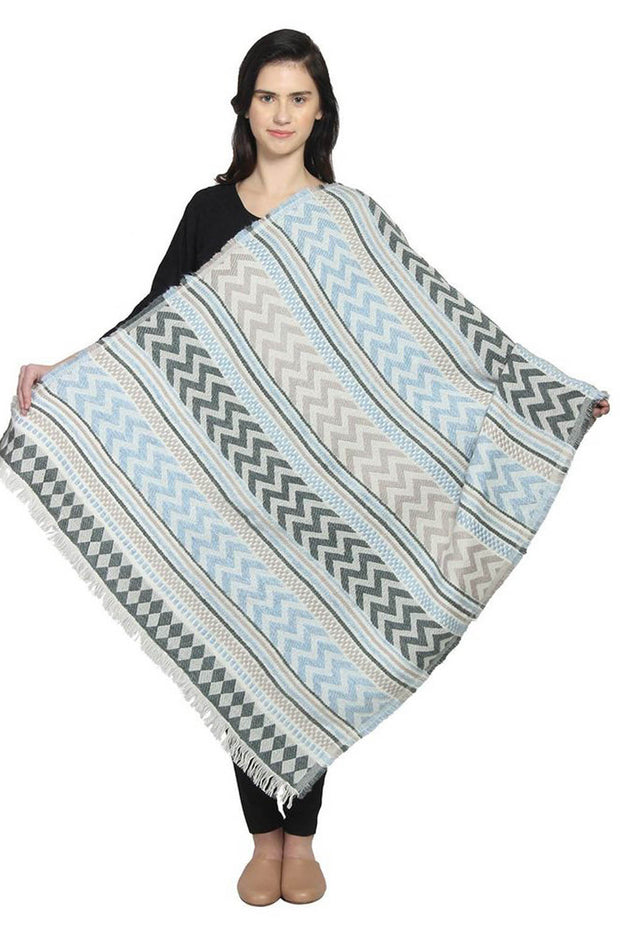 Wool Shawl in Blue And Grey