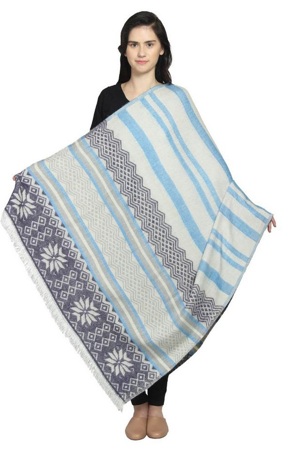 Wool Shawl in White And Blue