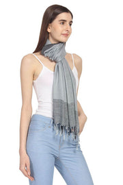 Viscose Stole in Grey And Black