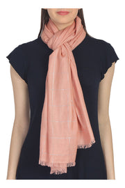Cotton Stole in Pink And Silver
