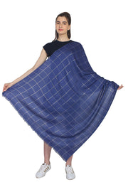 Cotton Stole in Navy And Silver