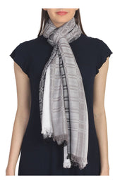 Viscose Stole in Grey, White And Black