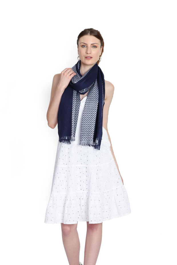 Viscose Stole in Navy And White