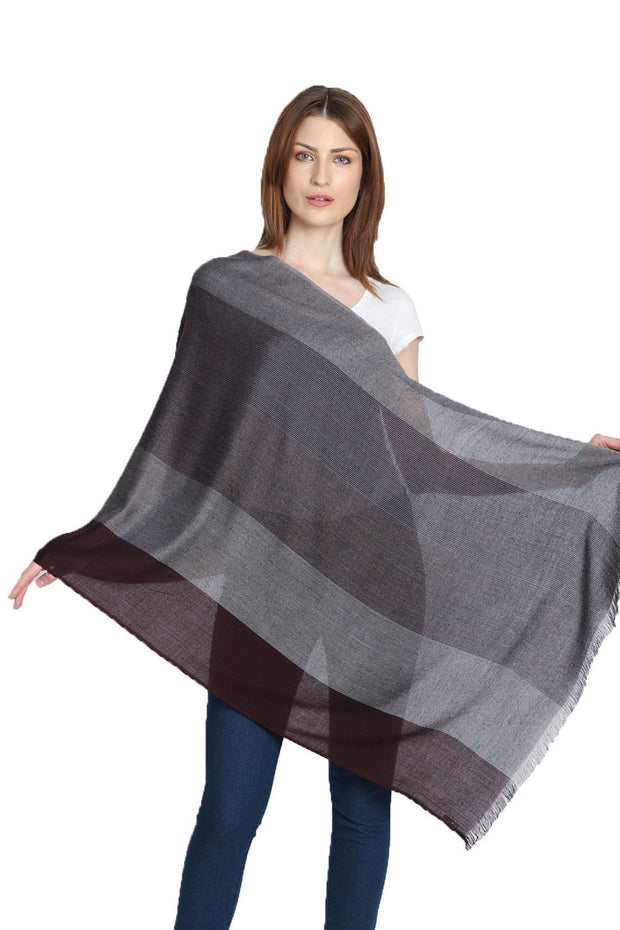 Viscose Stole in Red And Grey
