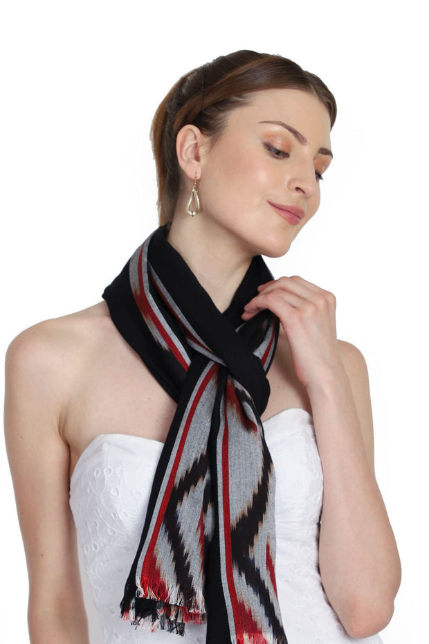 Viscose Stole in Black And Red